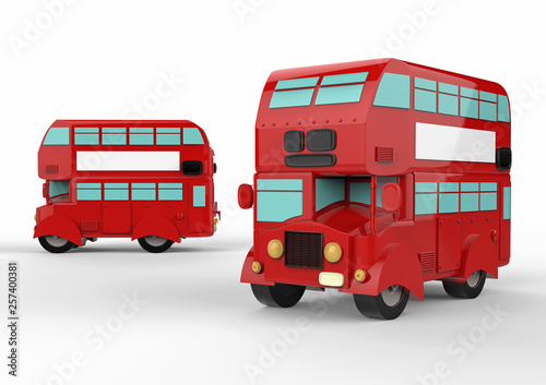 Fashion london doubledecker red bus. 3d render © Yevhen