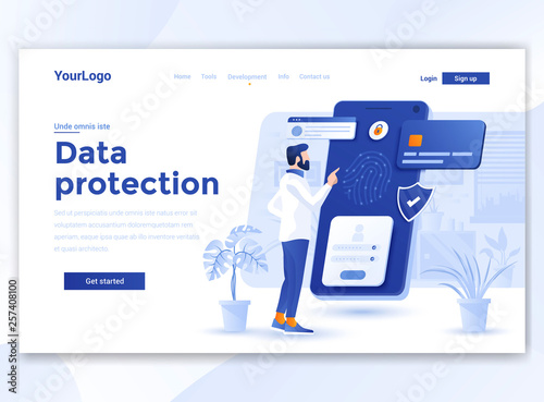 Flat Modern design of website template - Data Protection © darkovujic