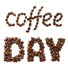 Phrase Coffee Day made of roasted coffee beans. Food lettering.