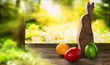 Leinwandbild Motiv Easter eggs with bunny