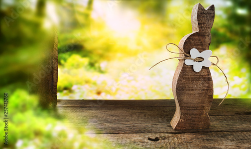Leinwandbild Motiv Easter bunny in a spring scenery