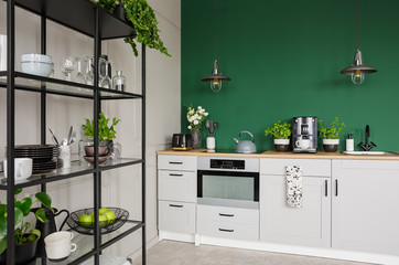 Two industrial lamps above kitchen furniture with herbs, coffee maker and roses in vase, copy space on empty green wall © Photographee.eu