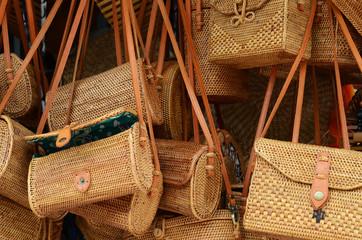 Balinese handmade rattan eco bags in a local souvenir market