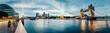 Leinwanddruck Bild - Banks of river Thames in London after sunrise