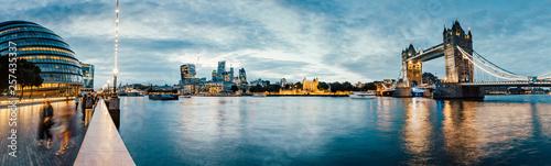 Leinwandbild Motiv Banks of river Thames in London after sunrise