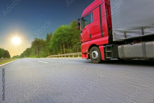 fototapeta na ścianę Truck transport on the road and cargo