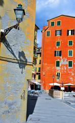historic buildings colored in Camogli, Genova, Italy