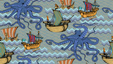 Pattern of octopus and sea voyages. Vector illustration. Suitable for fabric, wrapping paper and the like