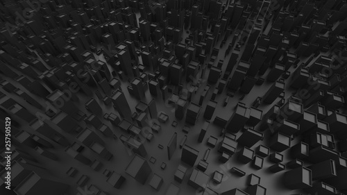 Abstract black futuristic city forms - 257505129
