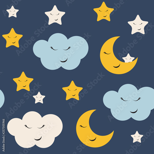 fototapeta na ścianę Cute Star, Cloud and Moon Seamless Pattern Background Vector Illustration