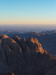 Amazing Sunrise at Sinai Mountain, Beautiful dawn in Egypt, Beautiful view from the mountain © Anton