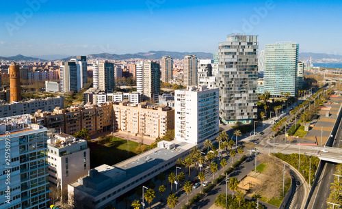 fototapeta na ścianę Barcelona, Spain - March 05, 2019: Modern high-rise buildings in the coastal residential areas of Diagonal Mar and Poblenou