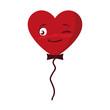 balloon helium with heart male kawaii character shape