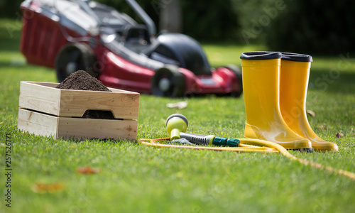 Gardening equipment on grass