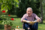 Old man with flower pot and gardening equipment