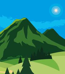 mountains green landscape scene © djvstock