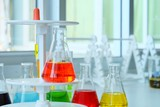 Chemical tube set development and pharmacy in laboratory  with multicolored substances in laboratory - Image