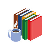 pile text books with coffee cup