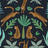 Jungle seamless pattern. Animal print with leopard. Summer background. Vector illustration - 257606305