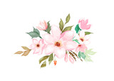 Floral template for wedding cards, invitations, Easter, birthday. Watercolor style. Vector  illustration - 257606333