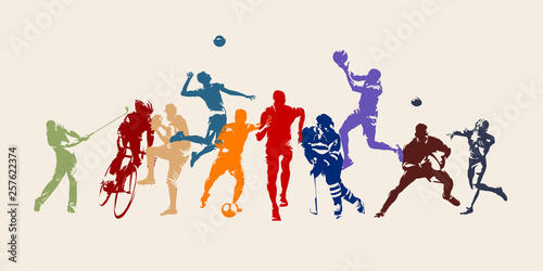 Sports, set of athletes of various sports disciplines. Isolated vector silhouettes. Run, soccer, hockey, volleyball, basketball, rugby, baseball, american football, cycling, golf © msanca