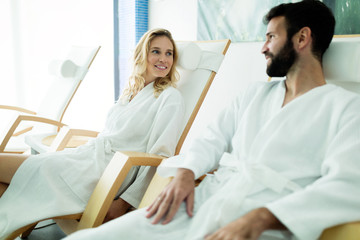 Attractive happy couple relaxing in spa center © nd3000