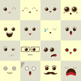 Beautiful expressions of mood. Vector illustration.