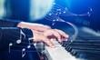 Leinwandbild Motiv Close up of a musician playing a piano keyboard