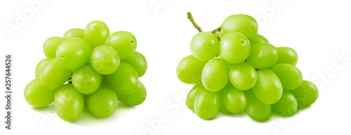 Lovely bunches of green grapes isolated on white background © kovaleva_ka