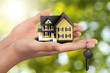 Leinwandbild Motiv Businessman Holding House Model and Keys, Real Estate Concept