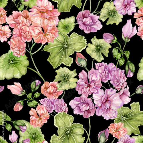 Beautiful floral background with pelargonium flowers and leaves. Seamless botanical pattern.  Watercolor painting. Hand painted floral illustration. © katiko2016