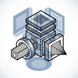 Abstract vector isometric dimensional shape made using geometric figures. - 257661986