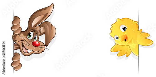 Hase und Kuecken von der Seite lächeln Hintergrund Design - 257663544