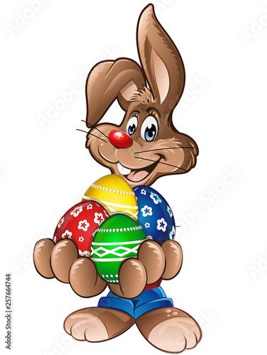 Hase mit vielen Ostereiern - 257664744