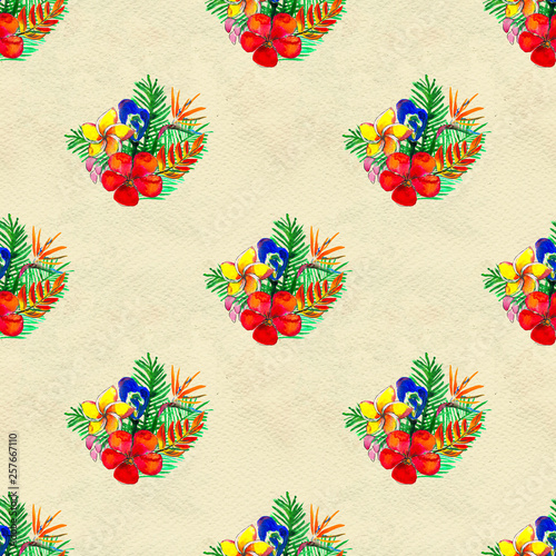 Seamless pattern With Tropical Flowers. Watercolor Background © lolya1988