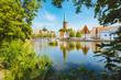 Leinwandbild Motiv Historic city of Luebeck with Trave river in summer, Schleswig-Holstein, Germany