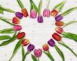 Leinwanddruck Bild - Tulpen Herz Geschenk Aufmerksam