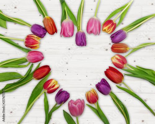 Leinwanddruck Bild Tulpen Herz Geschenk Aufmerksam