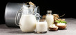 Quadro milk products. tasty healthy dairy products on a table. sour cream in a white bowl, cottage cheese bowl, cream in a a bank and milk jar, glass bottle and in a glass