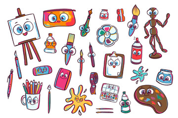 Art Supplies Cartoon Set. Artist Materials. Artsy Kids Comic Tools