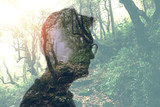 Fototapeta Fototapety na ścianę - Double exposure of man in glasses and green forest © LIGHTFIELD STUDIOS