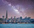 Leinwanddruck Bild - San Francisco, California. Panoramic view of Downtown skyline on a starry night
