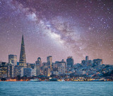 San Francisco, California. Panoramic view of Downtown skyline on a starry night - 257700360