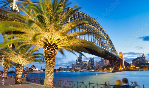 SYDNEY - NOVEMBER 6, 2015: Beautiful view of Sydney Harbor Bridge at dusk. Sydney attracts 20 million tourists every year