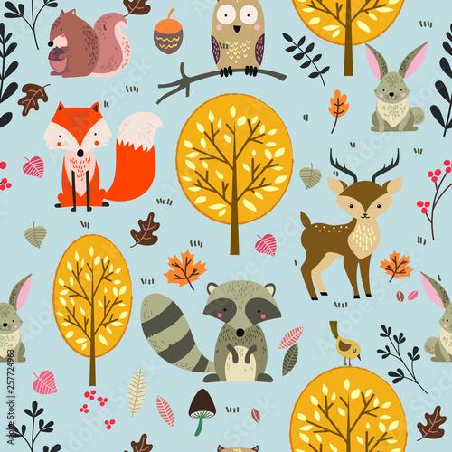 fototapeta na ścianę Woodland animal seamless background illustration