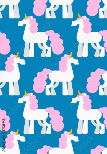 fototapeta na ścianę Unicorn pattern seamless. Background Magic horse with horn on head. Vector ornament