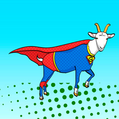 Pop art background. Flies Goat Animal Dressed As Superhero With clothes Vigilante Character. Comic style, raster