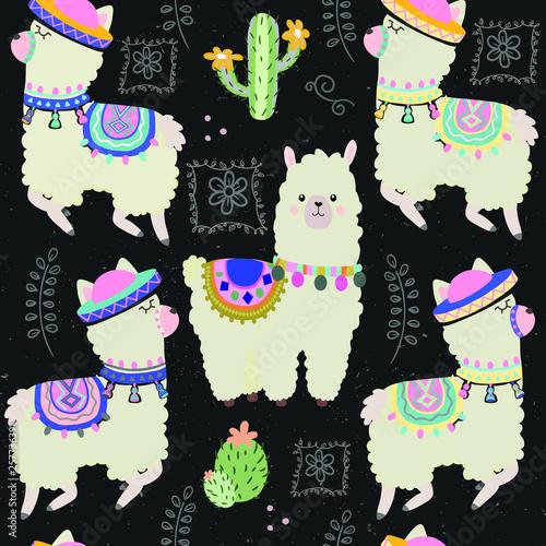 fototapeta na ścianę Cool llamas seamless background