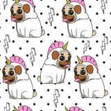 Pug unicorn seamless background