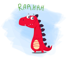 Vector illustration of cute cartoon dino character